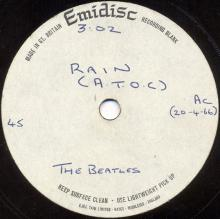 THE BEATLES ACETATE - RAIN - pic 1
