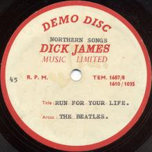 The Beatles Acetate Run For Your Life - pic 1