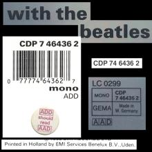 1987 uk02CD With The Beatles - CDP 7 46436 2 / BEATLES CD DISCOGRAPHY UK - pic 1