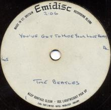 THE BEATLES ACETATE - YOU'VE GOT TO HIDE YOUR LOVE AWAY - pic 1