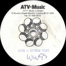 1978 03 23 - WINGS - WITH A LITTLE LUCK / BACKWARDS TRAVELLER-CUFF LINK - ACETATE - pic 1