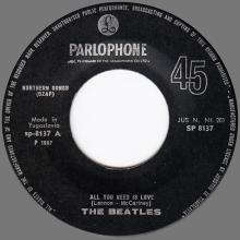 yu010 All You Need Is Love ⁄ Baby You're A Rich Man ⁄ SP 8137 -BEATLES DISCOGRAPHY YUGOSLAVIA - pic 1